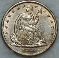 1860 S SEATED LIBERTY HALF DOLLAR SILVER AU DETAILING CIVIL WAR AUTHENTIC .50