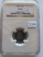 1865 SEATED LIBERTY PROOF SILVER DIME NGC PF65 COLOR PR 65 TONING 10 CENT COIN