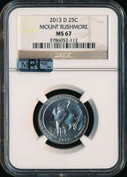 2013 D MOUNT RUSHMORE PARKS  QUARTER NGC MAC MS67 PL