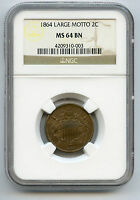 1864 LARGE MOTTO 2C CENT NGC MINT STATE 64 BN   WITH LOTS OF LUSTRE