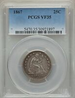 1867 SEATED LIBERTY QUARTER PCGS VF 35