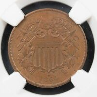 1864 TWO CENT PIECE MINT STATE 64 BN LARGE MOTTO NGC CERTIFIED