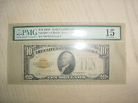 1928 $10 GOLD CERTIFICATE FR 2400   STAR NOTE   PMG 15   CHOICE FINE