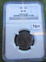 1891 SEATED LIBERTY SILVER QUARTER NGC MS63