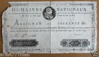 FRENCH BANKNOTE / ASSIGNAT OF 60 LIVRES,1791 AD DOMAINES NATIONAUX