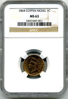 1864 COPPER NICKEL INDIAN ONE CENT NGC MS63