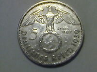 NAZI GERMANY SILVER 5 REICHSMARK COIN 1939 B VIENNA MINT LARGE SWASTIKA