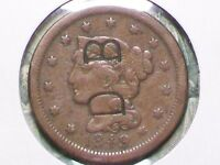 NEAT OLD   1849   LARGE CENT   COUNTERSTAMPED