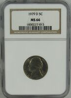 1979 D JEFFERSON NICKEL NGC MS66