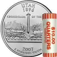 2007 P UTAH STATE QUARTER UNOPENED BANK WRAPPED COIN ROLL IN