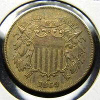 1869 TWO CENT PIECE UNC