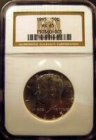 1965 KENNEDY HALF. BRILLIANT UNCIRCULATED. NGC CERTIFIED MS65. NGC PRICEGUIDE$90