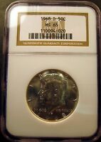 1968 D KENNEDY HALF. BRILLIANT UNCIRCULATED.NGC CERTIFIED MS65. NGC GUIDE $50