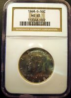 1968 D KENNEDY HALF. BRILLIANT UNCIRCULATED. NGC CERTIFIED MS65 SKU3