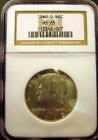 1969 D KENNEDY HALF. BRILLIANT UNCIRCULATED. NGC CERTIFIED MS65 SKU2