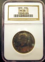 1972 KENNEDY HALF. CHOICE BRILLIANT UNCIRCULATED. NGC CERTIFIED MS66