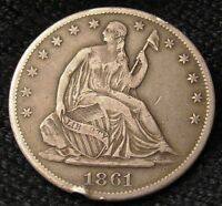 1861 S SEATED LIBERTY HALF DOLLAR   XF DETAILS   13361