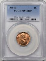 1948 D LINCOLN CENT MS66 RD PCGS