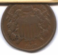 1868 TWO CENT   VG  CLIP ?  DEFECTIVE PLANCHET ?  OR ??  HELP