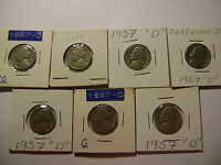 UNITED STATES COINS  LOT OF 7  JEFFERSON NICKELS 1957 D