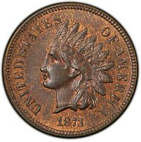 1873 OPEN 3 INDIAN HEAD CENT   RETAINED CUD ON REVERSE PCGS MS 65 RB  IHC PENNY