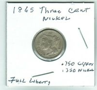 1865 THREE CENT NICKEL FULL LIBERTY