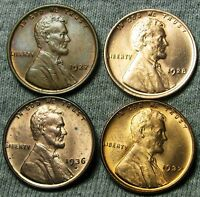 1927 1928 1936 S 1937 LINCOLN WHEAT CENTS     STUNNING BU DETAIL     N821