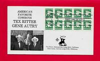 TEX RITTER & GENE AUTRY AMERICAS FAVORITE COWBOYS MASONIC D-RATE FDC