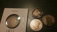 1911 1912,1901 AND A NO DATE.  LIBERTY V NICKELS