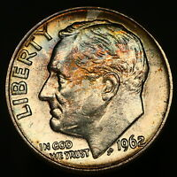 1962 D ROOSEVELT DIME RAINBOW COLOR TONED SUPERB EXAMPLE  8754