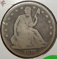 1876 SEATED LIBERTY HALF DOLLAR NICE CIRCULATED TYPE COIN   0906 12