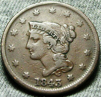 1843 BRAIDED HAIR LARGE CENT      TYPE COIN     W172