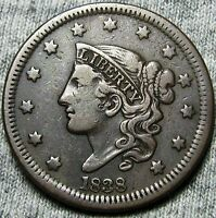 1838 BRAIDED HAIR LARGE CENT     TYPE COIN     N316