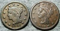 1840  1847 BRAIDED HAIR LARGE CENTS LOT     AMAZING CONDITION     N315