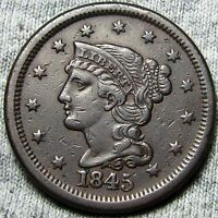 1845 BRAIDED HAIR LARGE CENT     TYPE COIN     N317