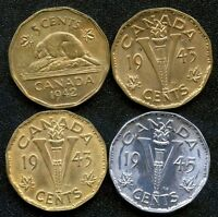 1942 1943 1943 & 1945 TOMBAC / VICTORY CANADA 5 CENT COINS VERY CHOICE