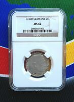 NGC MS 62 1939 D  WWII 2 MARK SILVER GERMAN THIRD  REICH COIN 5