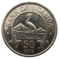 UGANDA 50 CENTS 1976   BIRD EAST AFRICAN CROWNED CRANE MAGNETIC KM4A AU UNC COIN