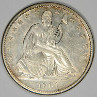 1861 O SEATED LIBERTY HALF DOLLAR   NICE AU/BU UNCIRCULATED   PRICED RIGHT