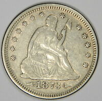 1873 SEATED LIBERTY QUARTER   PLEASING & ORIGINAL COLOR   PRICED RIGHT