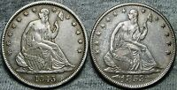 1843  1853 LIBERTY SEATED HALF DOLLARS     STUNNING TYPE COIN LOT       N716