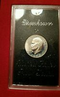 1972S EISENHOWER SILVER DOLLAR SILVER PROOF IN NICE CASE AND BROWN BOX.