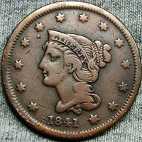 1841 BRAIDED HAIR LARGE CENT PENNY     TYPE COIN     D898