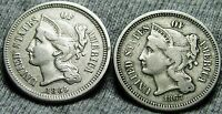 1865  1867 COPPER NICKEL THREE CENT PIECES 3CP     NICE LOT     W394