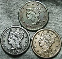 1841 1846 1848 BRAIDED HAIR LARGE CENTS     NICE LOT     W401