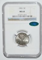 1903 LIBERTY NICKEL - NGC - MINT STATE 64 - CAC STICKER - NEW STYLE HOLDER