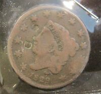 1829 CORONET HEAD LARGE CENT   VG   COUNTER STAMPED    B225