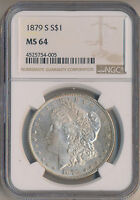 1879-S MORGAN SILVER DOLLAR NGC CERTIFIED MINT STATE 64 SHIPS FREE