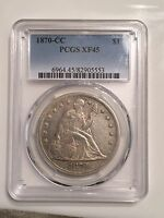 1870 CC $1 PCGS XF45 FIRST CARSON CITY SEATED DOLLAR WAY PQ