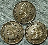 1899 1900 1908 INDIAN HEAD CENTS      LOT     W108